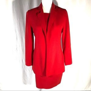 Lafayette 148 NY Red Wool Three Piece Skirt Suit